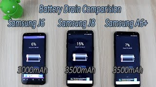 Samsung Galaxy J8 (2018) Vs A6 Plus Vs J6 (2018) Battery Drain Comparision !! HINDI Comprision !!