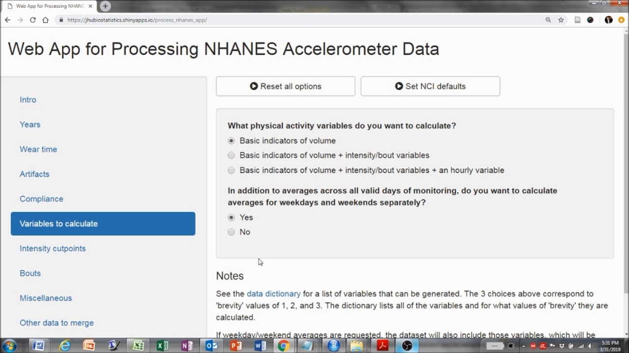 Web app for processing NHANES accelerometer data