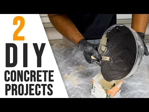 2 EASY DIY Concrete projects you can make ( desk lamp & planter )