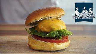 Pork and mushroom burger recipe with mustard mayonnaise and Kerrymaid original slice