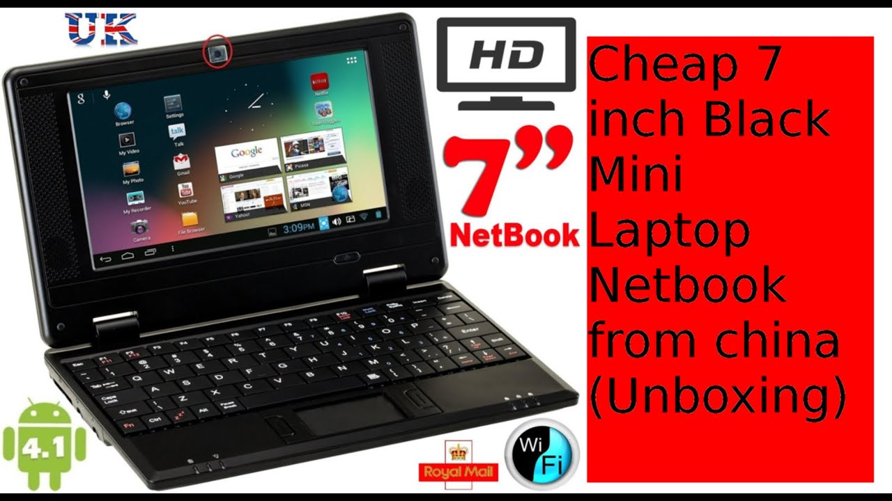 Cheap 7 Inch Black Mini Laptop Netbook From China Unboxing
