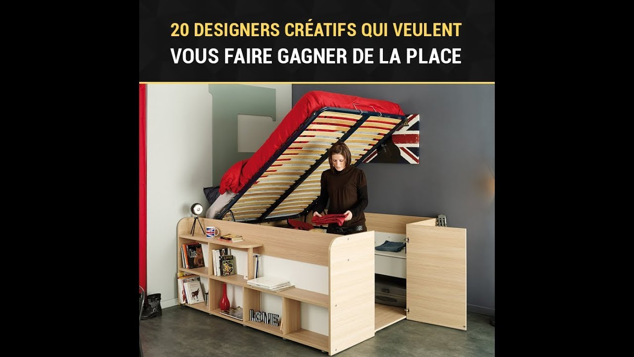 20 designers cr atifs qui veulent vous faire gagner de la place youtube. Black Bedroom Furniture Sets. Home Design Ideas