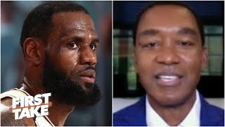 Isiah Thomas reacts to LeBron walking off the court early after Game 3 loss to the Heat | First Take