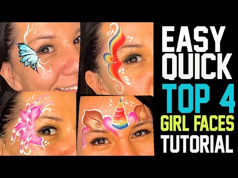 4 Easy, Fast Girl Face Painting Ideas Tutorial
