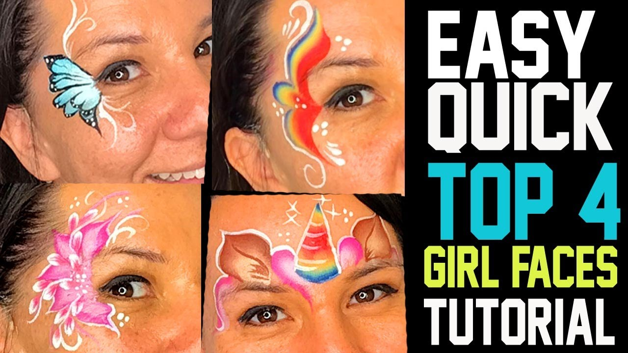 4 Easy Fast Girl Face Painting Ideas Tutorial Youtube