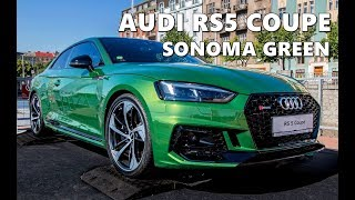 Sonoma Green Audi RS5 Coupe (2018) in Action
