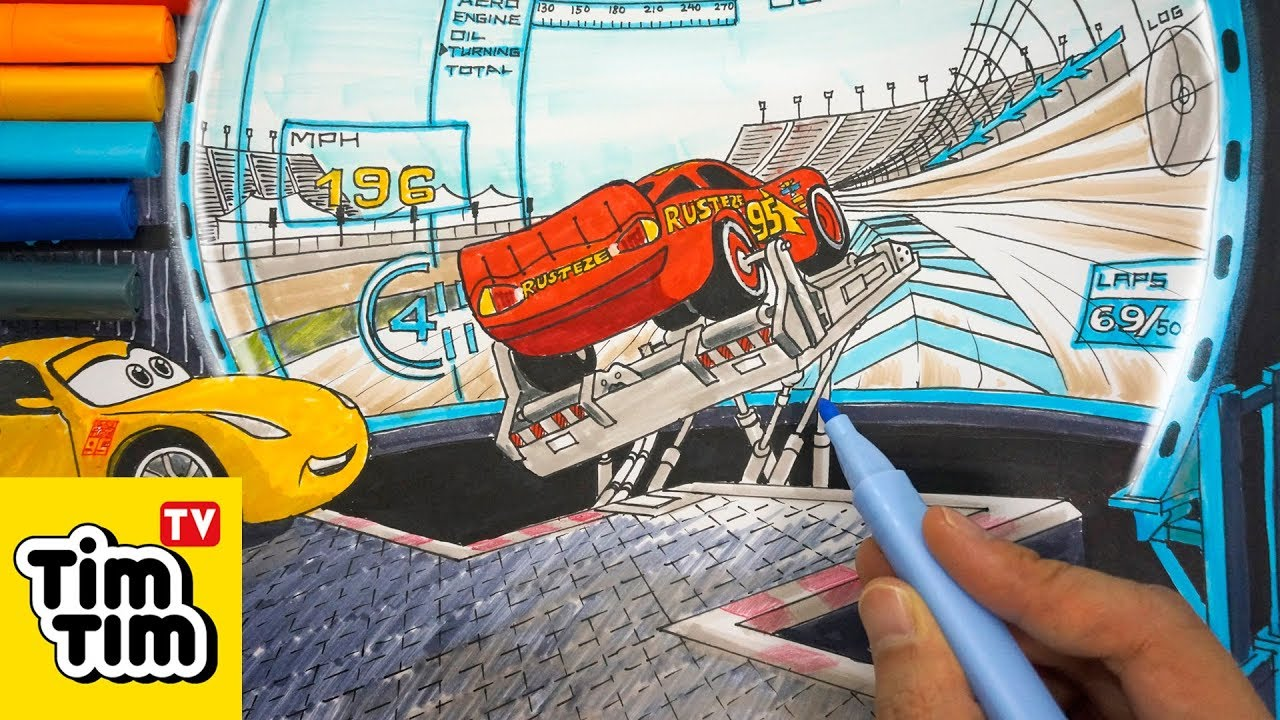 How to draw CARS 3 LIGHTNING McQUEEN RACING SIMULATOR ...