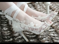 Lace rhinestones Wedding shoes new design for womens white fashion ; New arrivals