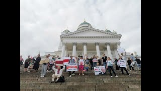 На Сенатской площади в Хельсинки прошла акция солидарности с Беларусью