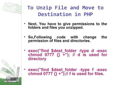 How to Unzip File and Move to PHP