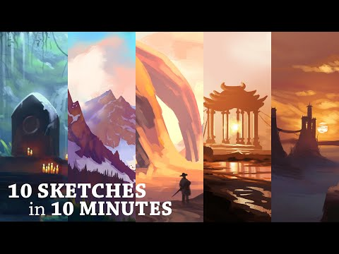 10 Sketches In 10 Minutes | Digital Speed Paint Timelapse | Concept Art