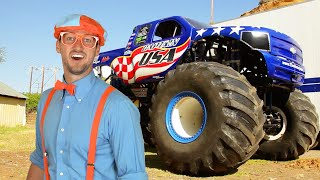 Blippi Learns Shapes, Colors, Numbers With Monster Trucks & The Monster Truck Song | Educational