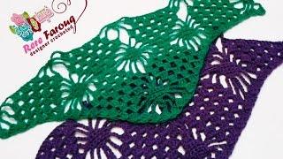 كروشيه غرزه العنكبوت المثلثه لعمل بندانا \ سكارف \ شال -خيط وابره - Crochet Triangle Spider stitche