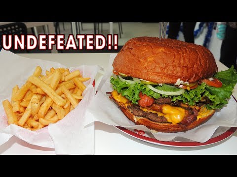 Supersized Bacon Cheeseburger Challenge w/ Sausages in Texas!!