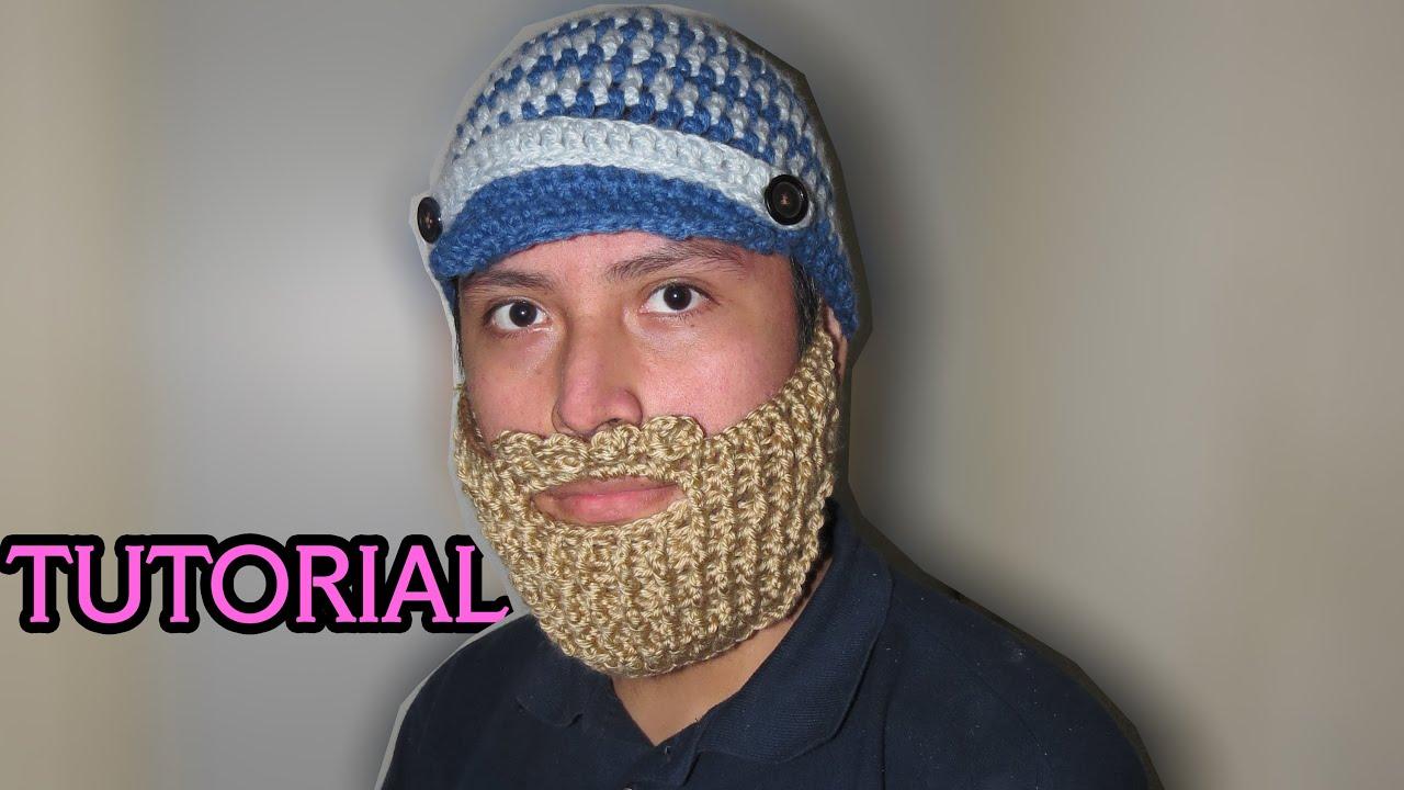 Tutorial de cómo hacer Gorro con Visera y Barba a crochet - YouTube