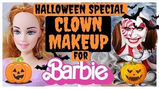 CLOWN MAKEUP FOR BARBIE DOLL by MADEYEWLOOK HALLOWEEN TUTORIAL #art #dolls #halloween