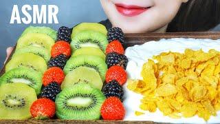 ASMR FRUITS X KELLOGG'S CORN FLAKES ( KIWI , STRAWBERRY , RASPBERRY ) EATING SOUNDS | LINH-ASMR