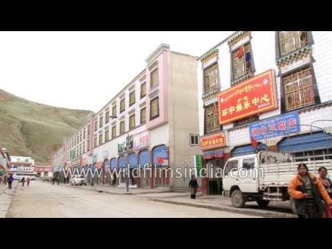Tibetan boys hang out in Saga or Kyakyaru, a town in Shigatse Prefecture