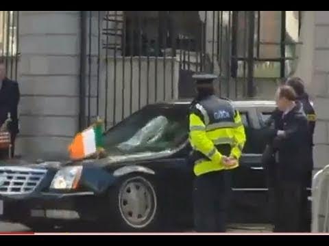 Barack gets car stuck at Dublin Embassy; Presidential Limo should be high-rider