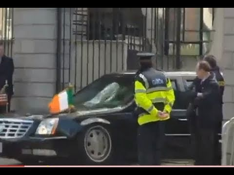 Barack gets car stuck at Dublin Embassy; Presidential Limo should be high-riser