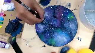 藝術治療/療癒-【壓克力顏料】星空彩繪 輕鬆舒壓的快速彩繪| Acrylic Galaxy Painting |