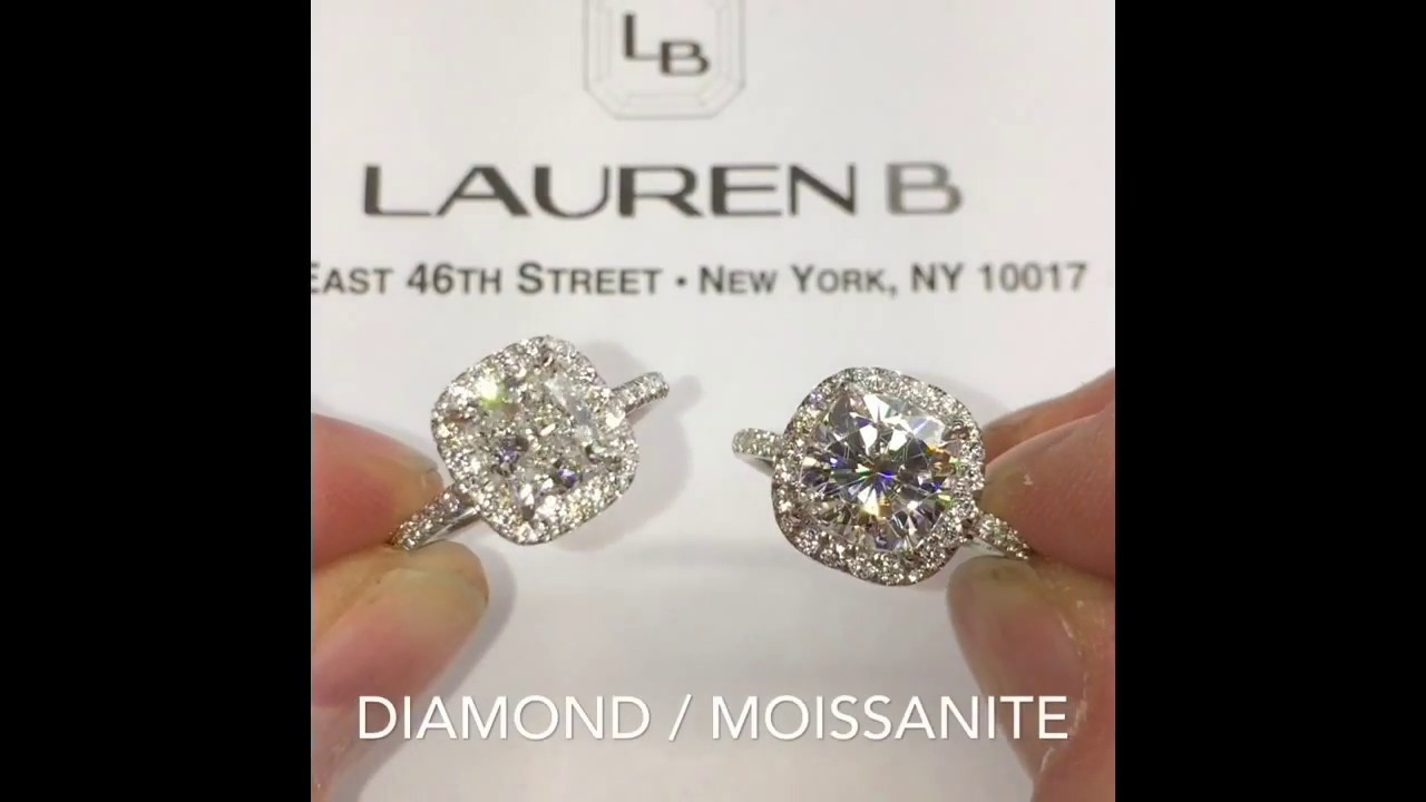 Diamond vs Moissanite Cushion Cut Halo Engagement Rings ...