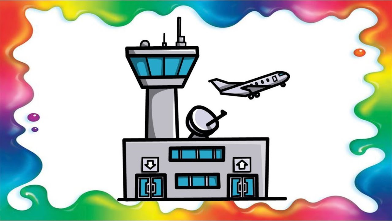 How To Draw An Airport For Kids Step By Step Youtube
