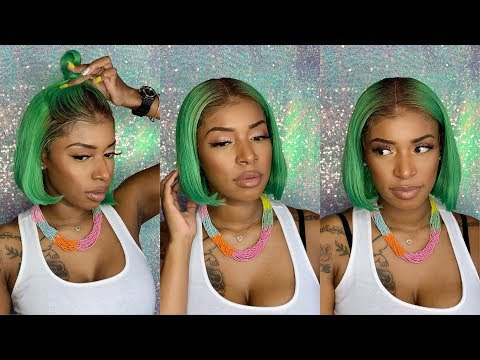 Watch Me Install & Style This Lime Green Bob Lace Front Wig  Aliexpress wig  Arison Hair Review