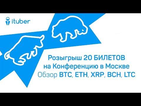 Розыгрыш 20 БИЛЕТОВ на Конференцию в Москве. Обзор BitCoin BTC, Ethereum ETH, Ripple XRP, BCH, LTC