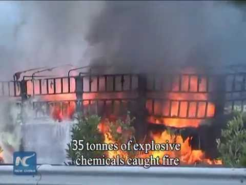 35 tonnes of chemicals catch fire on SW China expressway