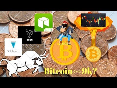 Bitcoin peste 9000$? Analiza tehnica Tron(TRX) VERGE(XVG) NEO ETH BCH XRP