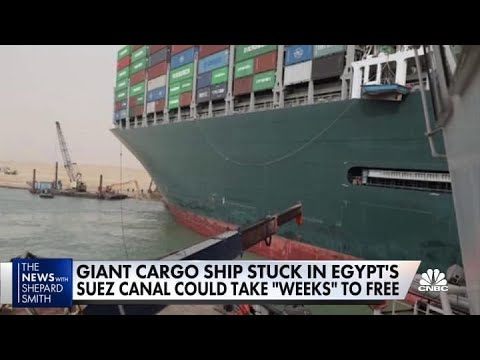 Giant cargo ship stuck in Egypt's Suez Canal could take 'weeks' to free
