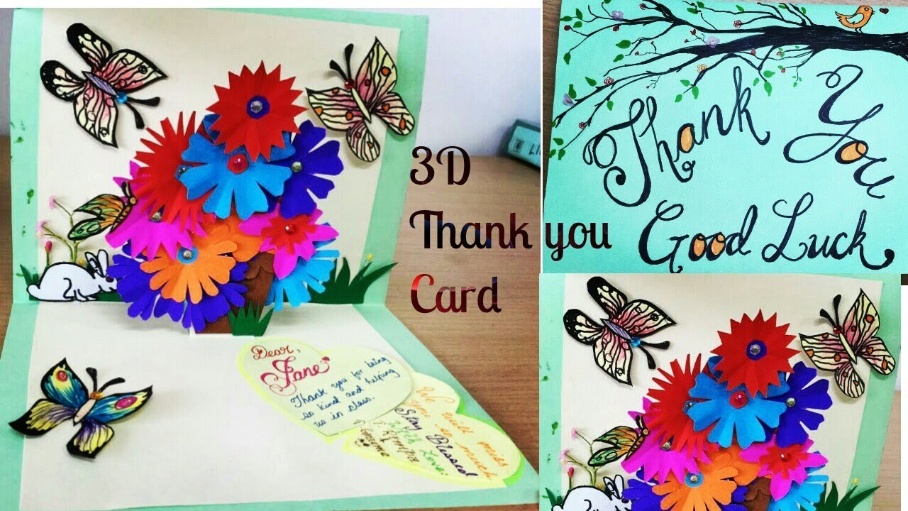 Diy 3d flower pop up card thank you good luck card youtube diy 3d flower pop up card thank you good luck card kristyandbryce Image collections