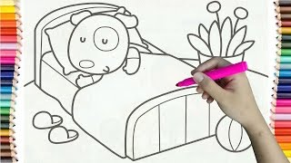Learning How to Draw Puppy go to Sleep Colorful for Kids - Col…