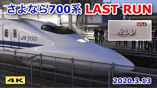 ありがとう700系 ラストラン ひかり441号 新大阪駅 2020.3.13【4K】