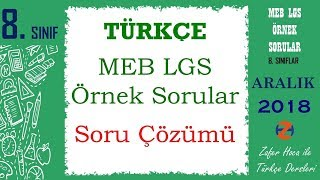 LGS Örnek Soru Çözümleri | Türkçe Dersi | Aralık 2018 MEB