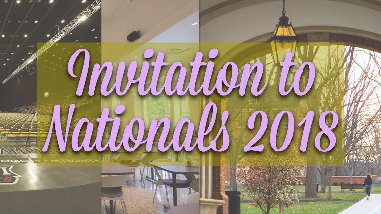Invitation To Nationals 2018 At Miami University