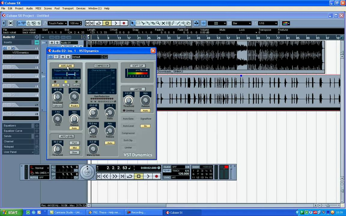 Audio editing with Cubase