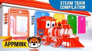 appMink Steam Train Compilation - Kids Learn Color Shape & Letters | Number Learning for kids