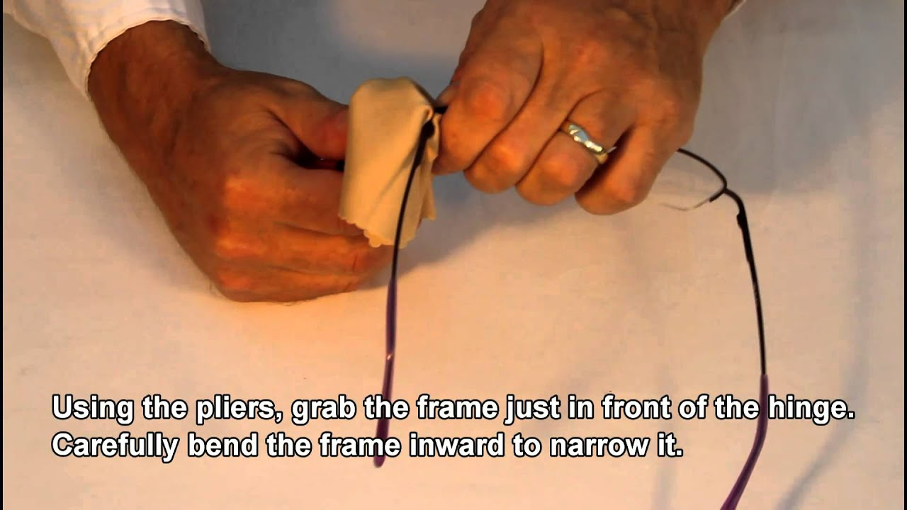 narrow a metal frame that is too wide eyewear glasses repairs made easy youtube