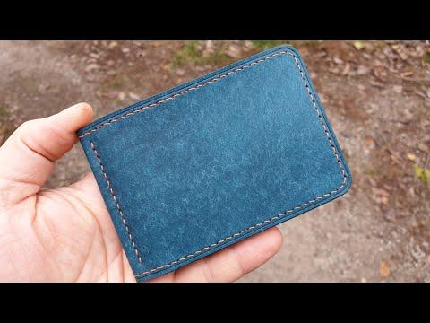Кошелёк с зажимом для купюр из кожи Pueblo, ручной шов. Handmade Leather Money Clip Wallet.