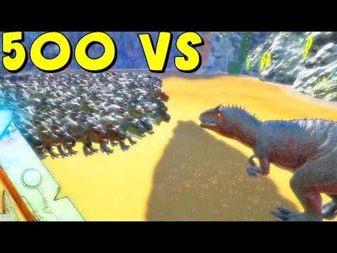 ARK Survival Evolved - 500 T REX VS GIGANOTOSAURUS ( AFTER GIGA NERF ) | ARK Battle Gameplay