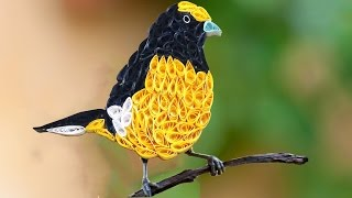quilling artwork | How to make Beautiful Yellow Bird design using Paper Art Quilling - Made Easy
