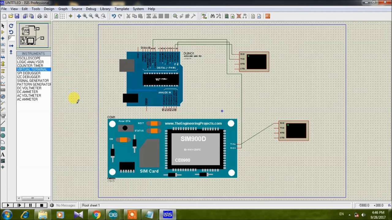 GSM interfacing with Arduino simulation in Proteus
