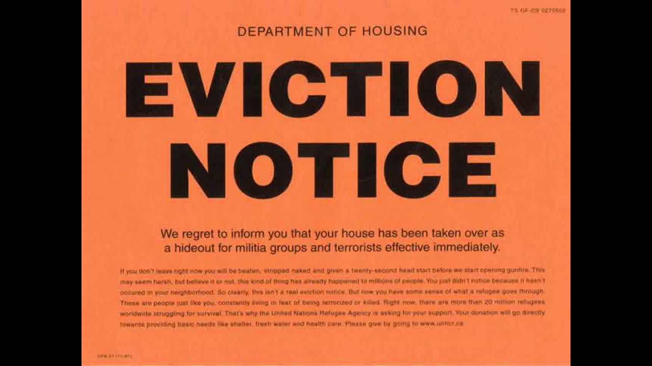eviction notice sample letter