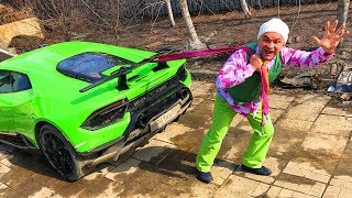 Mr. Joe found Broken Lamborghini Huracan Performance & Pulls Car on Rope & Started Race for Kids