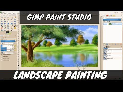 Landscape painting using GIMP Paint Studio