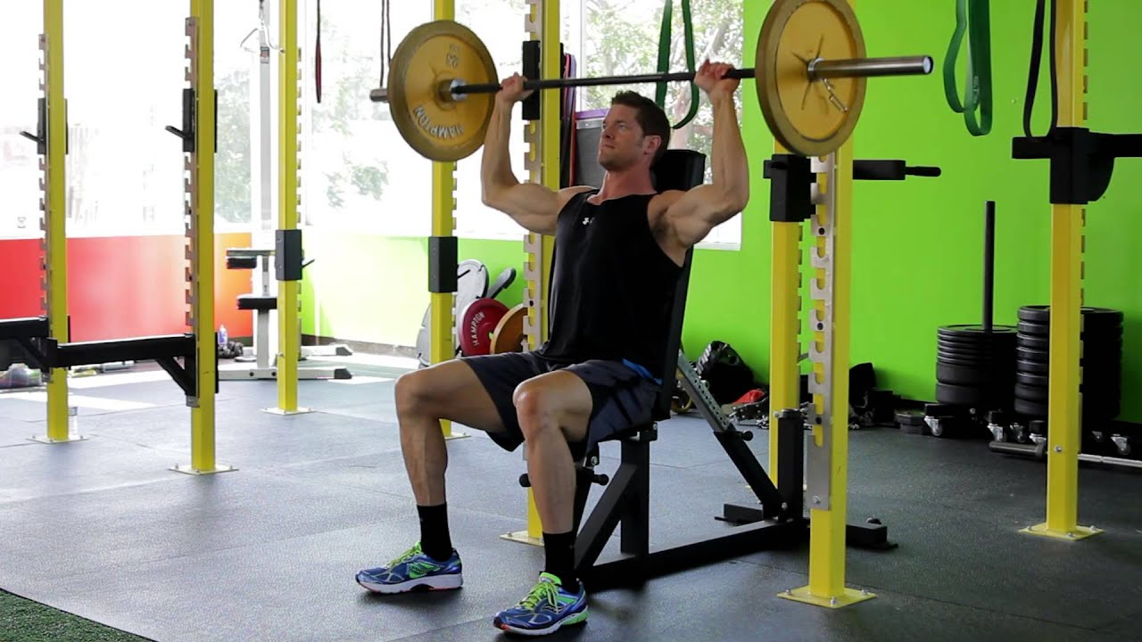 Seated Barbell Military Press - YouTube