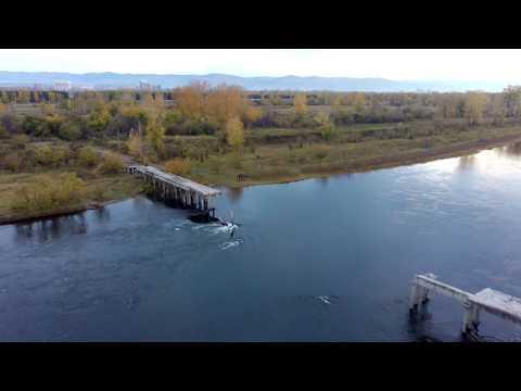 Полуразрушенный мост на остров Татышев. 60фпс