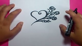 Como dibujar un corazon paso a paso 5 | How to draw a heart 5